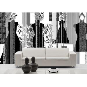 Contemporary Black And White Artistic Non-Woven Paper Mural