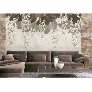 Contemporary Drooping Flowers Non-Woven Paper Mural