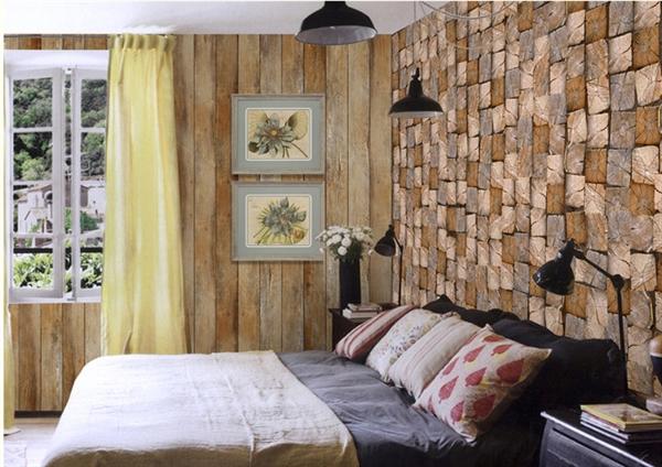 home decor - wall art - wallpaper - contemporary wood block non