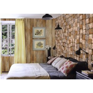 Contemporary Wood Block Non-Woven Paper Wall Paper