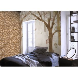 Contemporary Small Wood Block Non-Woven Paper Wall Paper