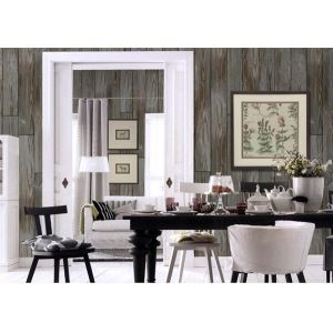 Contemporary Deep Grey Wood Non-Woven Paper Wall Paper