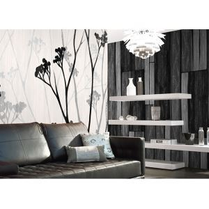 Contemporary Grey Wood Panel Non-Woven Paper Wall Paper