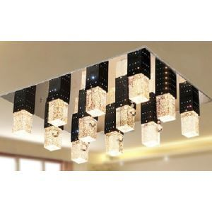 Crystal Flush Mount with 12 lights in Square Bubble Design