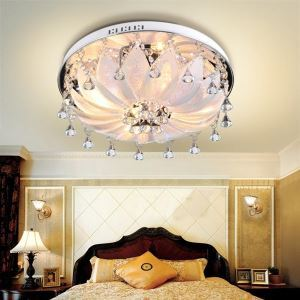 Contemporary Crystal Drop Flush Mount Lights in Ronud Design