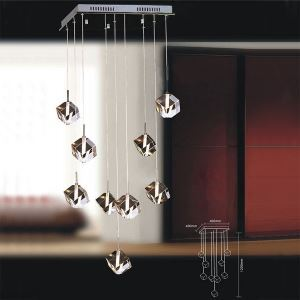 180W Pendant Light with 9 Lights in Cubic Crystal(G4 Bulb Base)