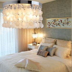 White Shell  Crystal Flush Mount light(Chrome Finish)