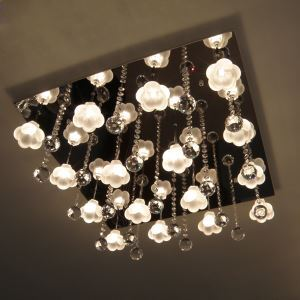 320W Crystal Flush Mount with 16 Lights in Floral Frosted Glass(G4 Bulb Base)