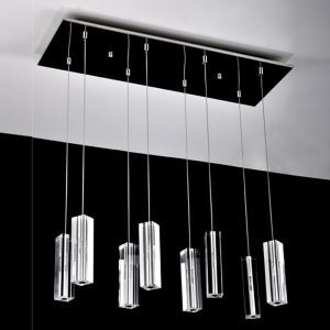 160W Pendant Light with 8 Lights Crystal Cuboid Featured(G4 Bulb Base)