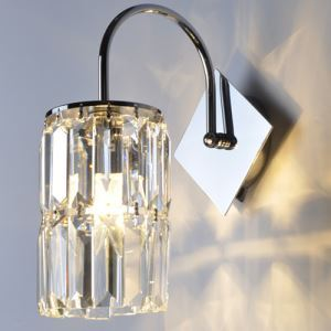 Crystal Wall Light Sconce Contemporary Cylinder Shape for Bedroom Living Room