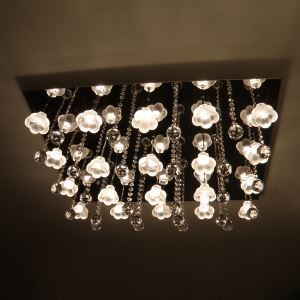 480W Crystal Flush Mount with 16 Lights in Floral Frosted Glass(G4 Bulb Base)