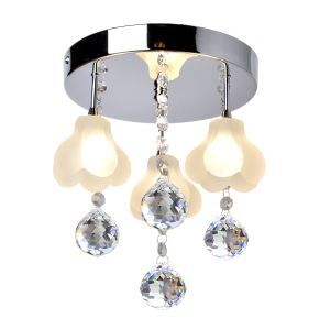 Crystal Flush Mount with 3 Lights in Floral Frosted Glass(G4 Bulb Base)
