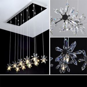 Crystal Mini Chandelier  with 10 Lights - Floral Shade