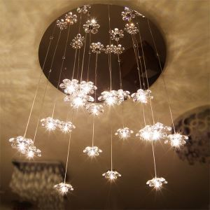 Crystal Mini Chandelier with 13 Lights - Floral Shape