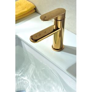 The Latest Simple design Golden Finished Brass Cold and Hot Sink Faucet with Single Lever