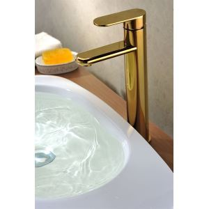 Deck Mounted Single Hole Brass Golden Color Sink Faucet Mixer Tap