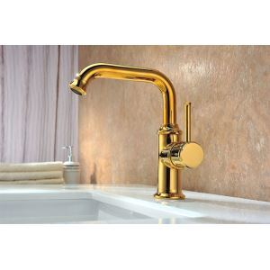 Toilet Single Level Gold Finish Basin Faucet