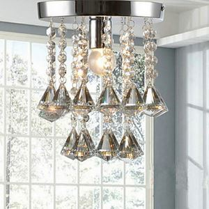 1-Light Crystal Semi Flush Mount