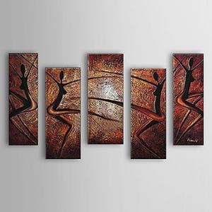 Hand Painted Oil Painting Abstract Dancer Set of 5 1303-AB0410