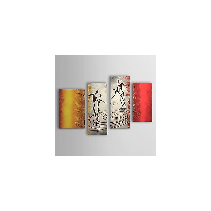 Hand Painted Oil Painting Abstract People Set of 4 1303-AB0401