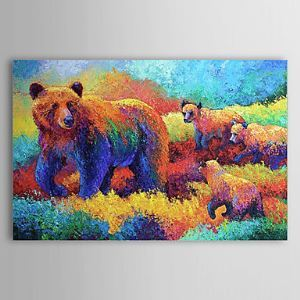 Hand Painted Oil Painting Animal Beer 1304-AN0092