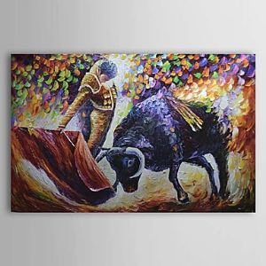 Hand Painted Oil Painting Animal Bullfight 1303-AN0062