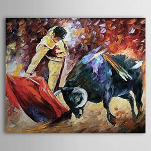 Hand Painted Oil Painting Animal Bullfight 1303-AN0064