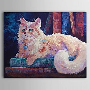 Hand Painted Oil Painting Animal Cat 1304-AN0086
