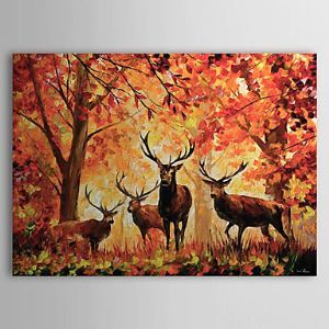 Hand Painted Oil Painting Animal Deer 1303-AN0065