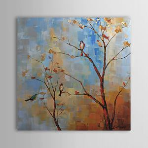 Hand Painted Oil Painting Botanical Tree and Bird 1305-FL0130