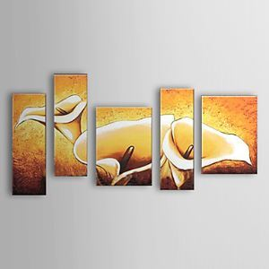 Hand-painted Oil Painting Floral Calla Lily Set of 5 1302-FL0055