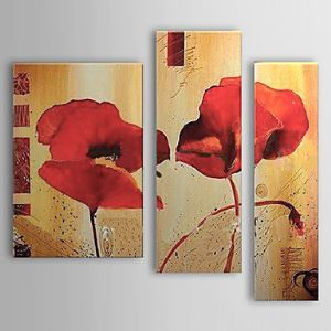 Hand-painted Oil Painting Floral Set of 3 1302-FL0058