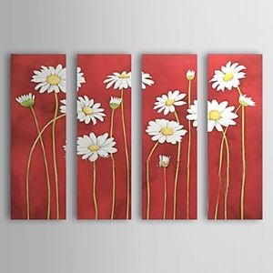 Hand-painted Oil Painting Floral Set of 4 1302-FL0057