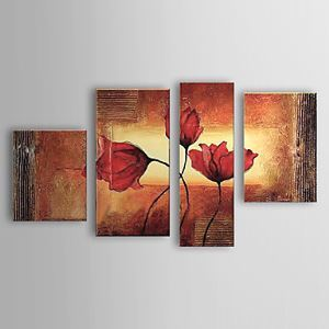 Hand-painted Oil Painting Floral Set of 4 1302-FL0060