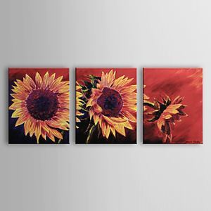Hand-painted Oil Painting Floral Sunflower Set of 3 1302-FL0066