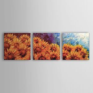 Hand-painted Oil Painting Floral Sunflower Set of 3 1302-FL0068