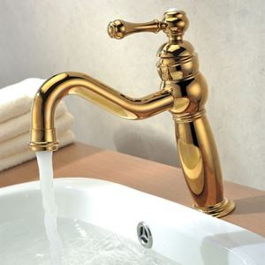 Elegant Deck Mount Single Lever Golden Brass Wash Basin Faucet