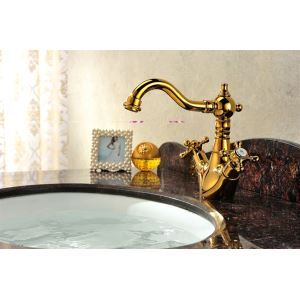 Dual Handle Golden Swan Deck-mounted Single Hole Basin Taps