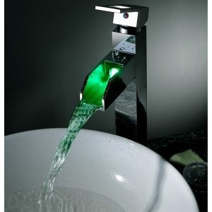 Shiny Brass Water  Color Changing LED Stream Sink Water Faucet