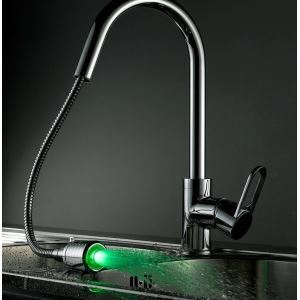 Unique Chrome Brass Pull Out Color Changing LED Electric Kitchen Faucet