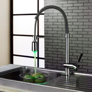 Chrome Finished LED Light Kitchen Faucet With Swivel Spout