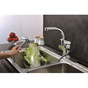 Multifunctional Chrome Finish Solid Brass Pull Out Kitchen Mixer
