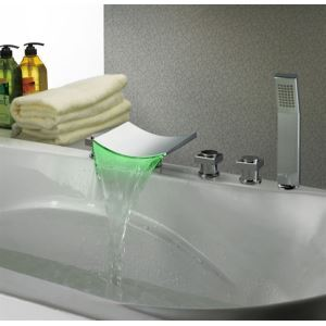 Newest Design Brass 5-Hole Waterfall LED Light Colored Faucets