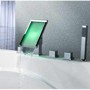 LED Waterfall Tub Faucet With Hand Shower(Deck Mounted)