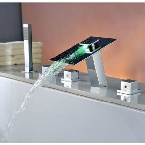 The Newest Design Waterfall Bathroom LED Shower Mixer Taps