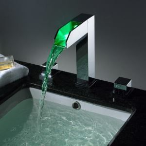 Fashion Brass Basin Faucet Two Handles Chrome Waterfall LED Bathroom Sink Faucet & Taps 0812-LPT02