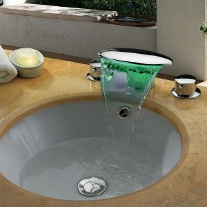 Self Power Three Color Changing Lighted LED Basin Faucet Waterfall Bathtub Faucet