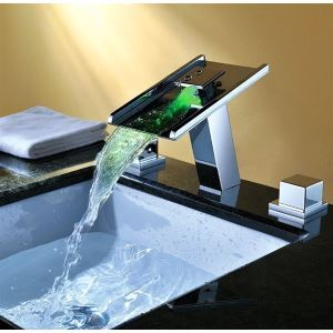 Contemporary Waterfall Color Changing Bathroom Sink LED Faucets