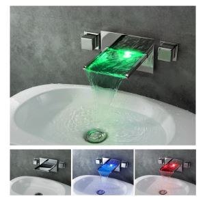 3 Color Wall Mounted Brass LEDWaterfall Basin Faucet