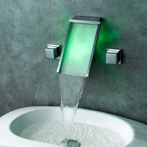 Contemporary Color Changing  Wall Mounted LED Water Faucet